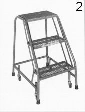 2 Rolling Metal Step Ladder