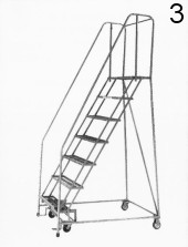 3 Rolling Metal Ladder